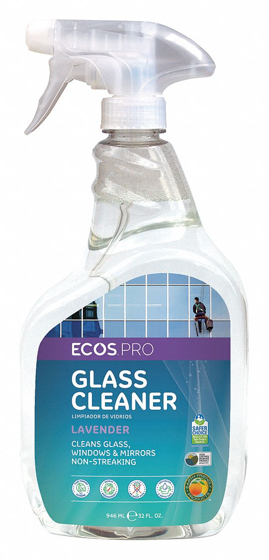 Glass Cleaner,  32 oz Cleaner Container Size,  Hard Nonporous Surfaces Chemicals For Use On