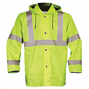 Men's Hi-Visibility Yellow/Green Polyurethane Breathable Rain Jacket with Hood, Size 2XL, Fits Chest