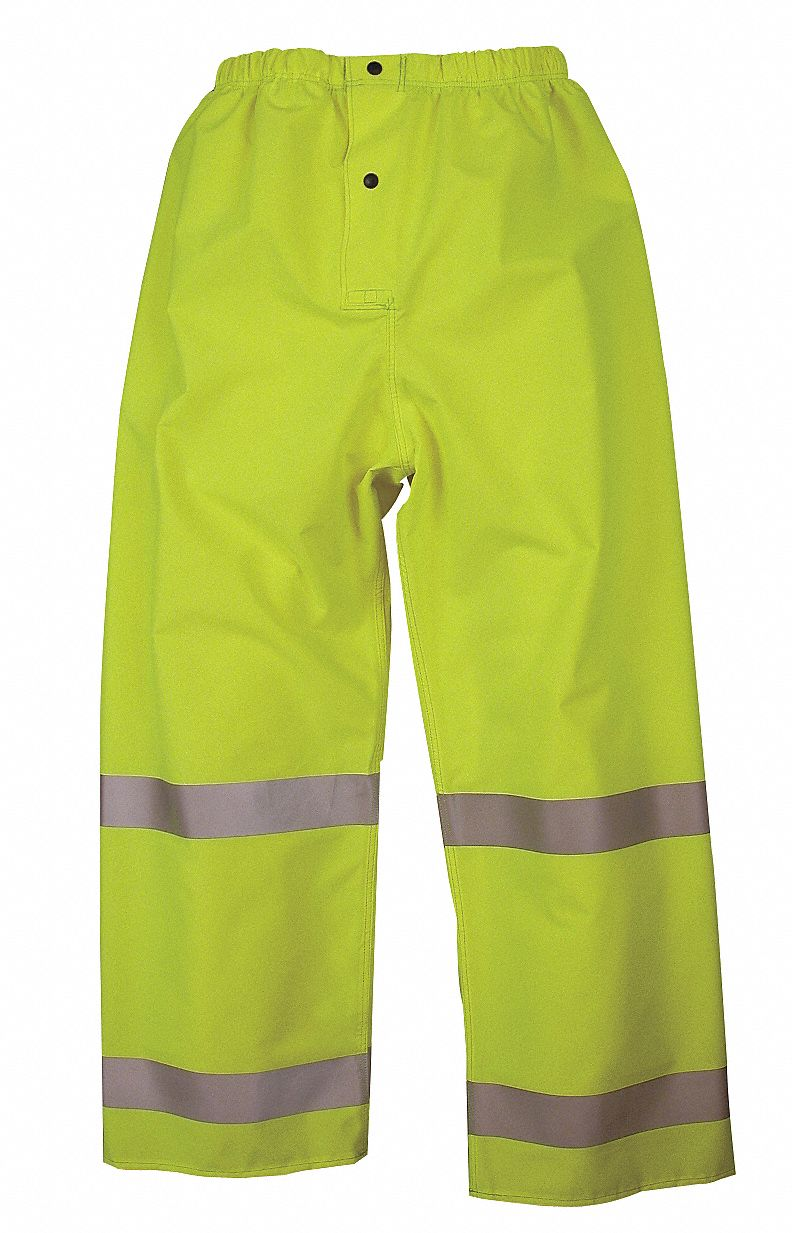 Yellow/Green,  Hi-Visibility Rain Pants,  S,  Polyester, Polyurethane,  Men's,  High Visibility Yes