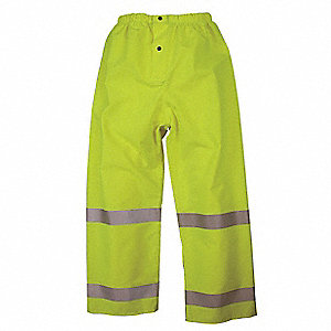 Rain Pants, High Visibility: Yes, ANSI Class: Class E, Polyester, Polyurethane, M, Yellow\Green