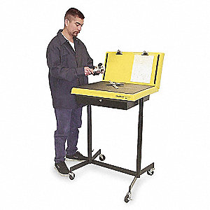 "Mobile Workstand, Steel, 13"" Depth, 47"" Height, 26"" Width,100 lb. Load Capacity"