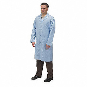 Collared Lab Coat,Male,L,Light Blue