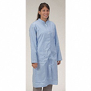 Collared Lab Coat,Female,M,Light Blue