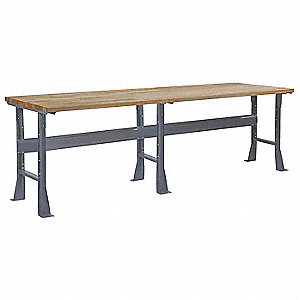 "Workbench, Steel Frame Material, 96"" Width, 30"" Depth  Butcher Block Maple Work Surface Material"
