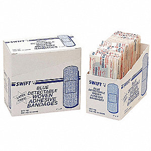 "Fabric Strip Bandages, 3"" x 1"", Blue"