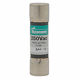 Fast Acting, Cylindrical, Fast Acting Midget Fuse, BAF Series, 250VAC, Nonindicating