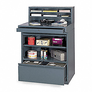 "35"" x 30"" x 51"" Steel Combination Shop Desk, Gray"