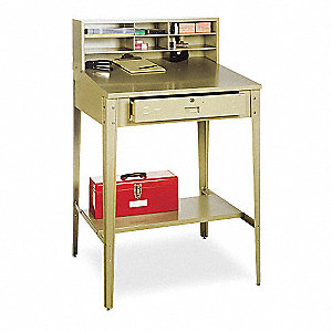 "34"" x 30-1/4"" x 55-1/2"" Steel Open Shop Desk, Beige"
