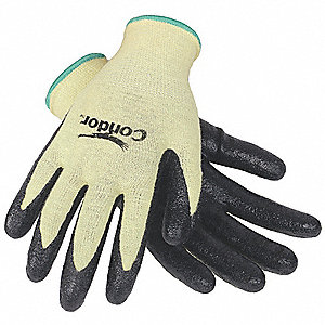 Nitrile Cut Resistant Gloves, ANSI/ISEA Cut Level 2, Kevlar® Lining, Yellow/Black, M, PR 1