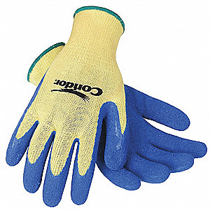 Natural Rubber Latex Cut Resistant Gloves, ANSI/ISEA Cut Level 3, Kevlar® Lining, Yellow/Blue, M, PR