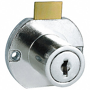 Keyed Alike Drawer Dead Bolt, For Door Thickness (In.): 15/16, Brass