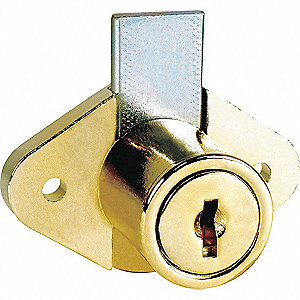 Alike-Keyed Standard Keyed Cam Lock Key # C413A, For Door Thickness (In.): 1-1/8, Bright Brass