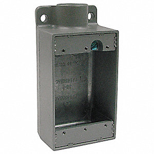 Weatherproof Electrical Box, 1-Gang, 1-Inlet, Aluminum