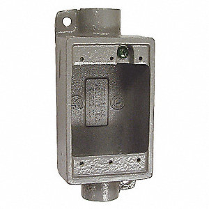 Weatherproof Electrical Box, 1-Gang, 2-Inlet, Aluminum