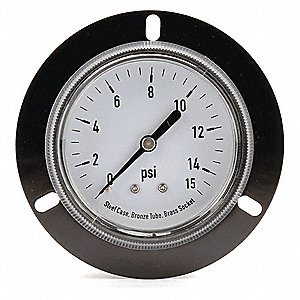 "2-1/2"" General Purpose Pressure Gauge, 0 to 15 psi"