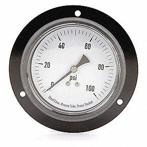 "3-1/2"" General Purpose Pressure Gauge, 0 to 100 psi"