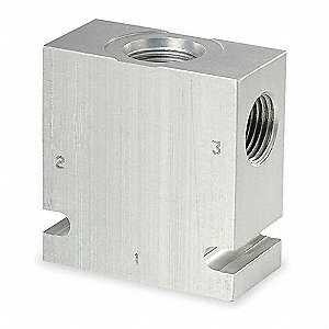 "1.25"" x 2.5"" x 2.63"" Aluminum Hydraulic Cartridge Valve Base"