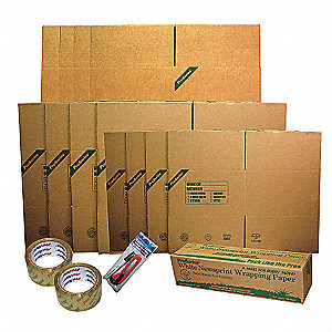 "Moving Kit Office, Brown, Inside Width 36"", Inside Length 43"", Inside Depth 7"", 1 EA"