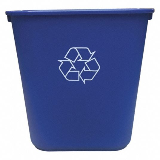 10 gal Rectangular Recycling Wastebasket,  Plastic,  Blue