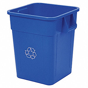48 gal. Blue Stationary Recycling Container, Open Top