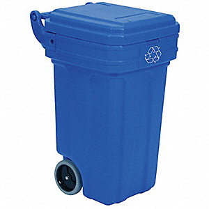 50 gal. Blue Mobile Recycling Container, Swing Door Top