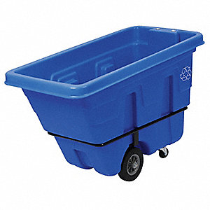 126 gal. Blue Mobile Recycling Container, Open Top