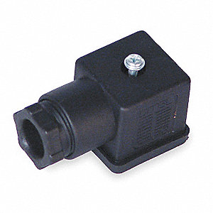 "1.06"" x 1.06"" x 1.06"" Wire Connector Plug, Black; For Use With Solenoid B"