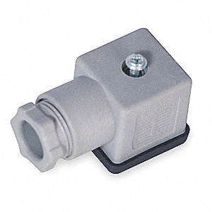 "1.06"" x 1.06"" x 1.06"" Wire Connector Plug, Grey&#x3b; For Use With Solenoid A"