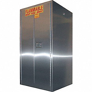 "31"" x 34"" x 65"" Stainless Steel Flammable Liquid Safety Cabinet with Self-Closing Doors, Silver"