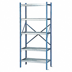 "36"" x 24"" x 84"" Starter Galvanized Steel Containment Shelving Unit, Blue"
