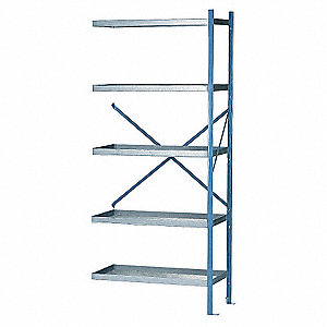 "36"" x 24"" x 84"" Add-On Galvanized Steel Containment Shelving Unit, Blue"