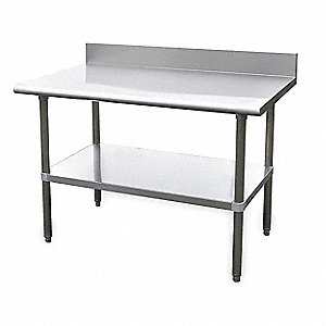 "Adjustable Worktable, 48"" Width, Stainless Steel Top, Frame, Backsplash and Undershelf"