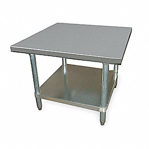 "Fixed Height Work Table, Stainless Steel, 30"" Depth, 24"" Height, 36"" Width,600 lb. Load Capacity"