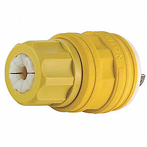 20/10A Industrial Grade Non-Shrouded Watertight Locking Plug, Yellow&#x3b; NEMA Configuration: Non-NEMA,