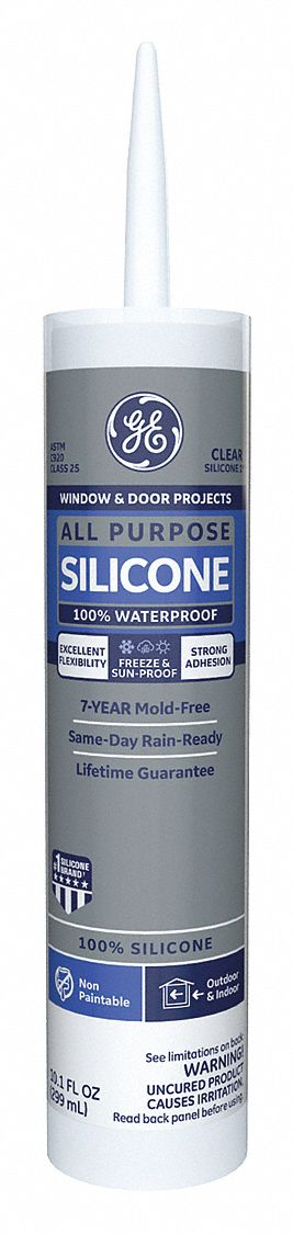 Clear Window and Door Sealant, Silicone, 10.1 oz Cartridge