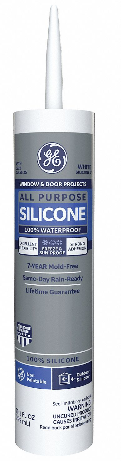 White Window and Door Sealant, Silicone, 10.1 oz Cartridge