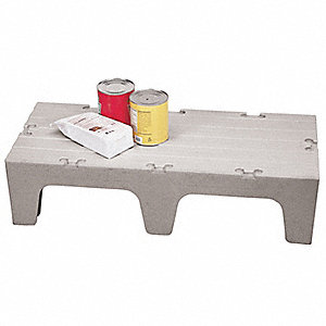 "60"" x 21"" x 12"" Polypropylene Dunnage Rack with 3000 lb. Load Capacity, Gray"