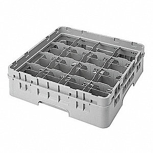 "19-3/4"" x 19-3/4"" x 7-1/4"" Closed Cup Rack System with 16 Compartments; Gray"