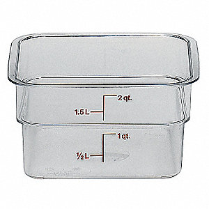 "7-1/4"" x 7-1/4"" x 3-7/8"" Polycarbonate Square Storage Container, Clear"