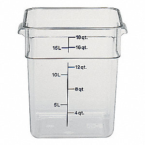 "11-1/4"" x 12-1/4"" x 12-5/8"" Polycarbonate Square Storage Container, Clear"