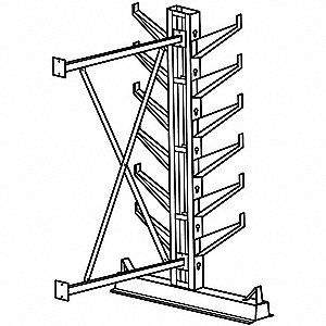 7 ft. 12 Arm 12,000 lb. Capacity Steel Inclined Cantilever Rack Add-On Unit, Gray Enamel
