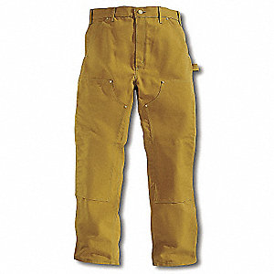 Double Front Work Pants,Brown,Size 34x30