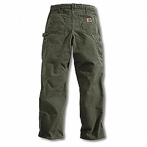 "Men's Dungaree Work Pants, 100% Ring Spun Cotton Duck, Color: Washed Moss, Fits Waist Size: 34"" x 36"