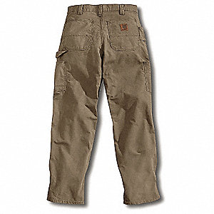 Men's Dungaree Canvas Work Pants, 100% Ring Spun Cotton Canvas, Color: Light Brown, Fits Waist Size: