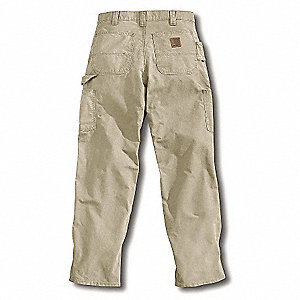 "Men's Dungaree Canvas Work Pants, 100% Ring Spun Cotton Canvas, Color: Tan, Fits Waist Size: 34"" x 3"