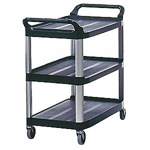 High Density Polyethylene Raised Handle Utility Cart, 300 lb. Load Capacity, Number of Shelves: 3