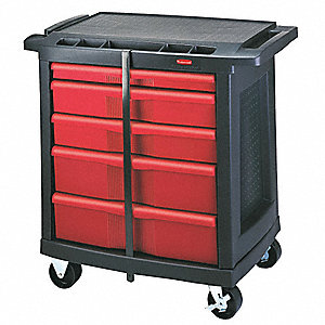 "Black/Red Trade Cart/Service Bench, 250 lb. Load Capacity, (2) 4"" Lockable Caster Type"