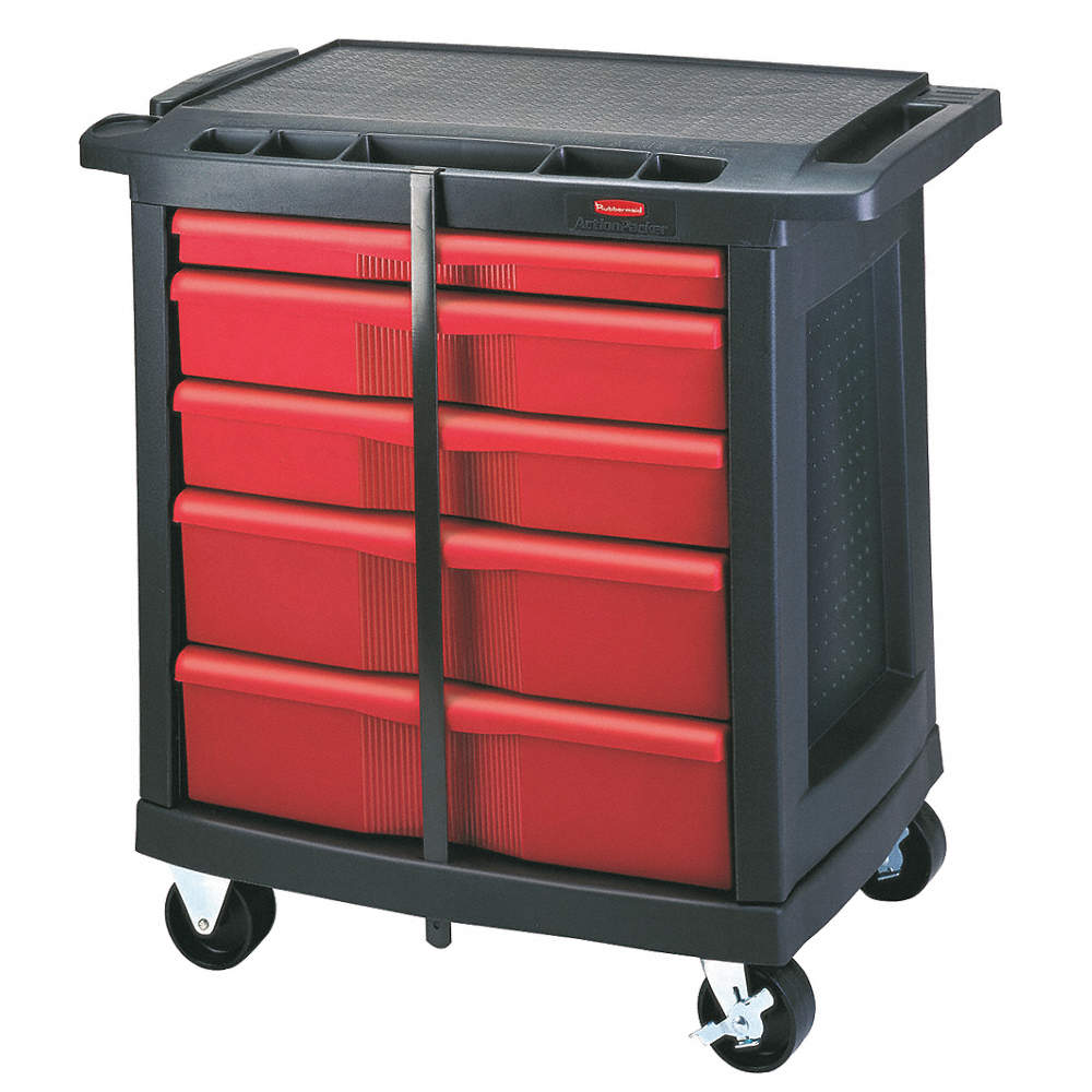 Plastic Portable Storage Cabinet Short : Rubbermaid trades cart with locking cabinet cabinets
