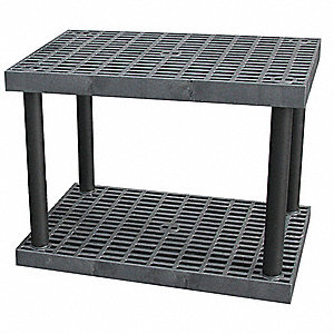 "36"" x 24"" x 27"" Molded HDPE Plastic Bulk Storage Rack, Black&#x3b; Number of Shelves: 2"