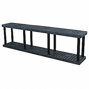 "96"" x 16"" x 27"" Molded HDPE Plastic Bulk Storage Rack, Black&#x3b; Number of Shelves: 2"